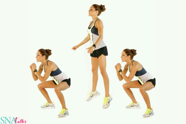 10 reps Squats jump –